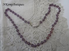 Amethyst glass necklace 925 clasp