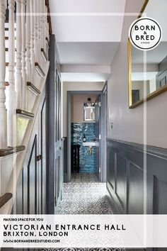 Inspiration from a South London Victorian Town House by Born Grey Hallway, Tiled Hallway, Hallway Flooring, Studio Interior, Interior Styling, Interior Design, Victorian Hallway, Hallway Colours, Downstairs Loo