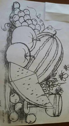 ... Outline Drawings, Pencil Art Drawings, Easy Drawings, Art Sketches, Fruit Painting, Tole Painting, Fabric Painting, Hand Embroidery Patterns, Embroidery Art
