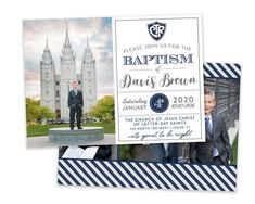 Getting ready for your son's special day? This classic baptism invitation template only takes minutes to customize! The clean design is sure to highlight your son's baptism photos. Save time getting ready for his special day with this easy to use baptism template. You can easily edit and add your Baptism Program, Baptism Invitation For Boys, Baptism Invitations, Woodland Theme, Woodland Party, Baptism Announcement, Baptism Pictures, Boy Baptism, Baptism Ideas