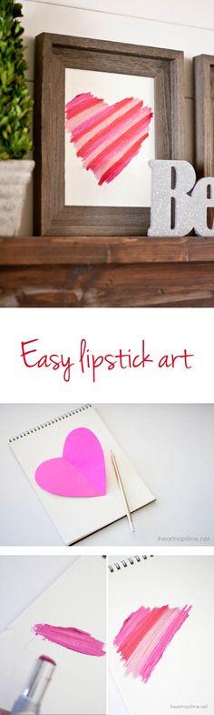 Easy Valentines Day Decor on iheartnaptime.com -DIY Lipstick Art