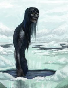 Qalupalik is an Inuit mythological creature. It is a human-like creature that lives in the sea, with long hair, green skin, and long fingernails. The myth is that qalupaliks wear an amautiit (a form of pouch that Inuit parents wear to carry their children) so they can take babies and children away who disobey their parents.