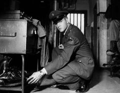 Elvis Presley in Uniform, Ray Barracks, Germany   From a unique collection of black and white photography at https://www.1stdibs.com/art/photography/black-white-photography/