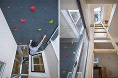 3 Way House with Rock Climbing Wall in Tokyo, Japan