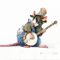 """""""Country blues"""" Cartoon Drawings, Animal Drawings, Hamsters, Caricatures, Funny Animal Comics, Funny Rats, Mouse Illustration, Pet Mice, Cute Little Animals"""