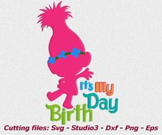 Troll svg Trolls Birthday svg Poppy svg Trolls dxf by kArtPrints