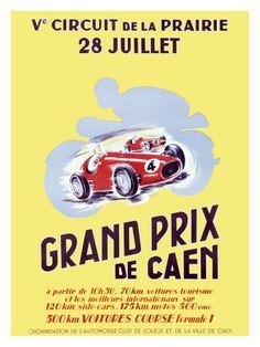 Grand Prix De Caen...Vintage Race Posters, Vintage Racing Posters, Vintage Auto Posters and Prints