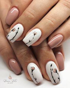 Pin by KOLORowanka Art on manicure inspiracion in 2020 Coco Nails, Nails & Co, Nude Nails, Hair And Nails, Nail Ink, French Tip Acrylic Nails, Short Square Nails, Nail Accessories, Green Nails