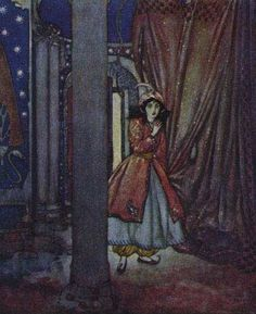 "Bluebeard - ""And there, in a row, hung the bodies of seven dead women"". The Sleeping Beauty and Other Tales From the Old French. Edmund Dulac, illustrator, 1910"