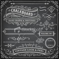 Chalkboard Frames and Banners Royalty Free Stock Vector Art Illustration