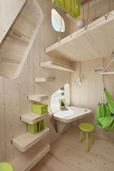 Eco-Friendly Student Flat by Tengbom Architects.  Great stairs for a tiny space.   This design could be adapted to create a cat feeding place that is out of reach of dogs.