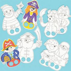 Baker Ross Pirate Colour-in Finger Puppets 8 Assorted Designs Children's Craft Activities Kits (Pack of Pirate Preschool, Pirate Activities, Pirate Kids, Pirate Day, Pirate Theme, Craft Activities, Preschool Crafts, Kids Pirate Crafts, Pirates For Kids