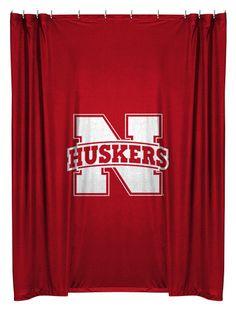 Nebraska Cornhuskers NCAA Sports Coverage Team Color Shower Curtain #SportsCoverage #NebraskaCornhuskers