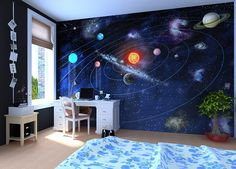 Fun Kid's Space Themed Bedroom Design Ideas. Find and save ideas about Space theme bedroom in this article. Kids Wall Murals, Murals For Kids, Playroom Mural, Ceiling Murals, Mural Wall, Bedroom Themes, Kids Bedroom, Space Theme Bedroom, Kids Rooms