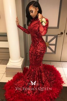 f11b2d9af16 Gorgeous Red Sequin with Feather Hemline Long Sleeve Mermaid Long Prom Dress