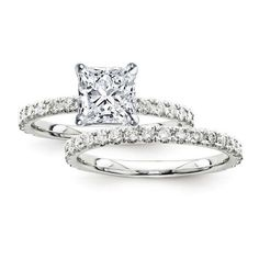 Certified 2.70 Ct. Princess Diamond Bridal Engagement Ring Set with... ($6,500) ❤ liked on Polyvore featuring jewelry, rings, engagement rings, stone engagement rings, diamond bridal rings, 14k ring and princess cut engagement rings