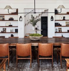 59 Best Rustic Dining Room Design Ideas - Page 42 of 59 - Decorating Ideas - Home Decor Ideas and Tips Architectural Digest, Dining Room Design, Dining Room Table, Leather Dining Room Chairs, Designer Dining Chairs, Rustic Dining Rooms, Wood Table, Dark Wood Dining Table, Dining Decor