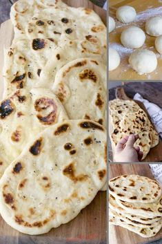Naan Bread Recipe Naan is a traditional Indian flat bread that is pillowy soft and delicious. This easy naan bread re Homemade Naan Bread, Recipes With Naan Bread, Flatbread Recipes, Flat Bread Recipe Easy, Delicious Dinner Recipes, Snack Recipes, Snacks, Yummy Recipes, Indian Flat Bread