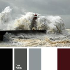 A color range of the sea storm: black, shades of grey and white are complemented with dark burgundy that adds brightness and volume to the palette. This color combination can be used in sports clothes, as well as official and casual wardrobe.