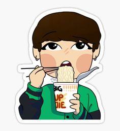 Jungkook eats ramen Sticker