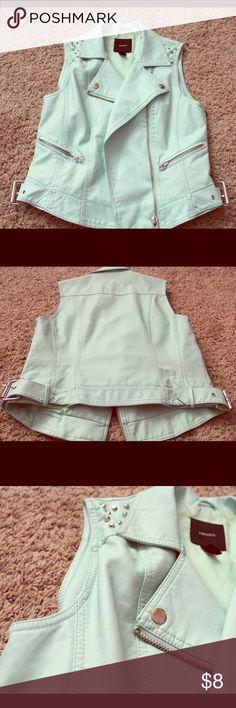 Faux Leather Vest Light blue, silver details Forever 21 Jackets & Coats Vests
