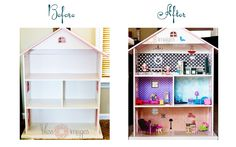 Turn an old bookcase into a doll house!