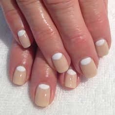 White and Beige Half Moon Manicure