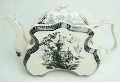 Black Transferware Large Renaissance Porcelain Tea Pot