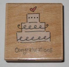 Wedding Cake Congratulations Rubber Stamp Wood Mounted Cards Marriage New #KatieCo