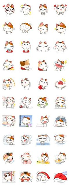 Make your chats amusing with Gojill, a cheerful and mischievous tricolor kitten. Be Gojill& friend and you will not be lonesome. Sweet Drawings, Kawaii Drawings, Easy Drawings, Kawaii Stickers, Cat Stickers, Printable Stickers, Kawaii Doodles, Kawaii Art, Cat Drawing Tutorial