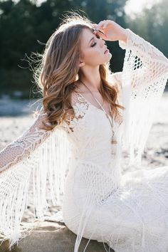 bohemian wedding dress by Rue de Seine Boho Wedding Gown, Ivory Wedding, Boho Bride, Wedding Dress Styles, Wedding Photo Gallery, Wedding Photos, Hippie Stil, Bohemian Wedding Inspiration, Grace Loves Lace