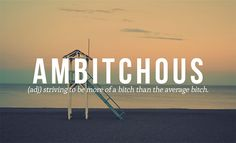 Ambitchous: Striving to be more of a bitch than the average bitch.