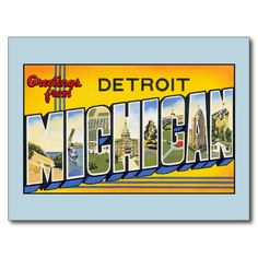 Vintage greetings from Detroit Michigan Postcard, greeting cards, fridge magnets