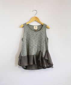 Girls Gray Ruffled Sleeveless Top @ www.kidsclothbox.com.  Free Shipping on all U.S. orders, everyday!