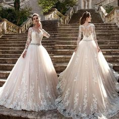 Cheap sleeved wedding, Buy Quality dresses bodas directly from China long sleeve wedding Suppliers: Vestido de noiva Long Sleeves Wedding Dress 2017 Sheer Tulle Back Lace Appliques Wedding Gowns Bead Belt Bride Dresses Boda Scoop Wedding Dress, Sheer Wedding Dress, Wedding Dress Sleeves, Long Sleeve Wedding, Long Wedding Dresses, Elegant Wedding Dress, Long Gowns, Bride Dresses, Modest Wedding