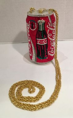 For Sale on - A limited-edition, signed and numbered, Swarovski crystal encrusted, gold-plated metal Coca-Cola can minaudière evening bag purse by Kathrine Baumann, Unique Purses, Unique Bags, Cute Purses, Luxury Purses, Luxury Bags, Diy Purse Handles, Fashion Bags, Fashion Accessories, Fashion Plates