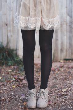to try: cream polka dot dress/black tights/cream platforms