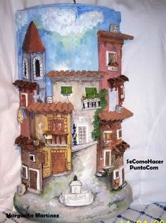 EL MUSEO DE LAS TEJAS !!! - Rêves des Jumelles__Manualidades & Scrap Clay Fairy House, Fairy Houses, Popsicle Stick Houses, Clay Wall Art, Clay Art Projects, Paper Mache Crafts, Tile Crafts, Clay Fairies, Clay Houses