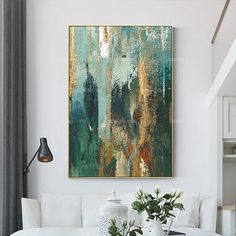 Framed painting Set of 3 wall art Gold art mountain abstract Acrylic Painting On Canvas Mint green teal waterfall texture painting - - Large Painting, Painting Frames, Painting Prints, Texture Painting, Abstract Canvas Art, Acrylic Painting Canvas, Painting Abstract, Acrylic Art, Green Paintings