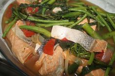Salmon Sinigang: My favorite Filipino-American dish  (Tamarind soup with Salmon & head tip.) Please try!