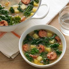This quick soup is flavorful and around 200 calories. #recipes #soups