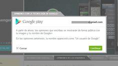 Las opiniones que se publiquen en Google Play aparecerán con el nombre y la foto que tiene el usuario en Google+  http://www.genbeta.com/p/72968