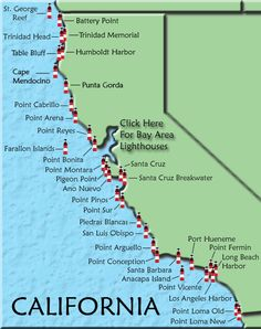 California lighthouses. would be a cool trip! Mom loved lighthouses.