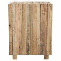 """Showcasing planked sides and a mosaic-inspired top, this eye-catching teak end table brims with rustic appeal. Product: End tableConstruction Material: Reclaimed teakColor: Medium oakDimensions: 19.5"""" H x 15"""" W x 15"""" D"""