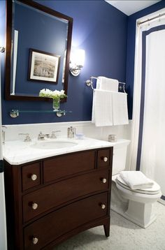 """Paint Color: """"Symphony Blue 2060-10 by Benjamin Moore"""". Downstairs guest bath"""