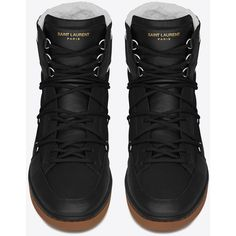 Saint Laurent Signature Court Classic California Ski Sneaker ($745) ❤ liked on Polyvore featuring shoes, sneakers, laced sneakers, ski shoes, high top shoes, hi tops and lacing sneakers