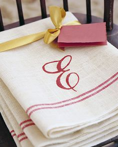 DIY Christmas gift ideas  A present bearing a hand-painted monogram shows affectionate effort. Use a set of hand towels and a letter stencil. Lay towel over a sheet of paper. Center stencil on towel and, holding it firmly, apply two coats of washable fabric paint with a medium-size brush. Remove stencil, and let dry, about three hours. Heat set.