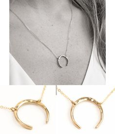Moon Choker Necklace Upside Down Moon Necklace by LayeredAndLong