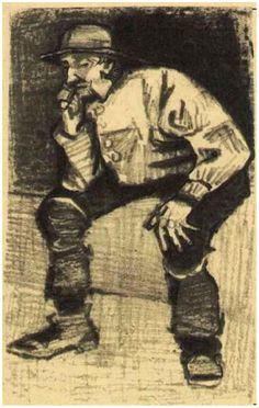 Vincent van Gogh Drawing, Pen, pencil The Hague: February, 1883 Van Gogh Museum Amsterdam, The Netherlands, Europe F: 1013, JH: 305 Image Only - Van Gogh: Fisherman with Sou'wester, Sitting with Pipe