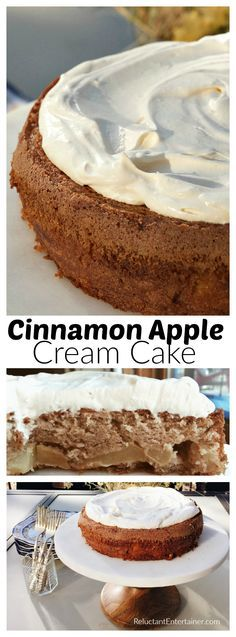 Cinnamon Apple Cream Cake, with whipped cream on top, is the perfect cake to…